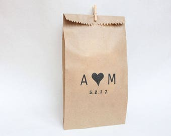 WEDDING favour bags, wedding cake bags, candy buffet bags, custom initial stamp, wedding bags, thank you bags, custom wedding FAVOUR BAGS