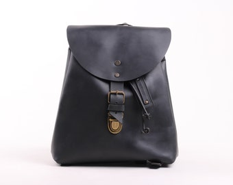 Charlotte Mini Backpack (Black Oiled Leather)