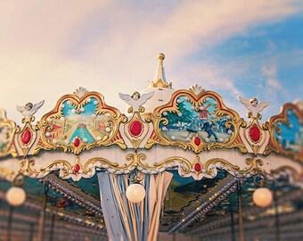 Carnival Nursery Art, Dreamy Vintage Paris Carousel Photograph, Carnival Photography, Paris Decor - Merry Go Round