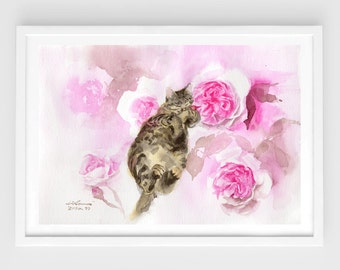 "Original watercolor,""lazy day""N.4,tabby cat,sleeping cat,7""5x10""6,home decor"