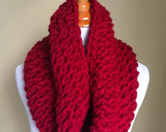 READY TO SHIP - Chunky Knit Cowl, Scarf, Oxygen Cowl, Cranberry Cowl