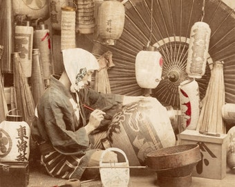 Japanese Lantern Painter Japan Vintage Photo Color Photography