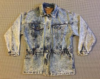 1980's, parka style, acid wash, denim jacket, Women's size Medium