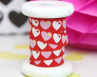 "Ribbon color mix ""byGraziela heart"" red white"