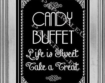 """Weddings """"Candy Bar """" Table Sign - DIY Instant Printable Download - Black & White -one 8x10 black print"""
