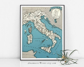 ITALY MAP PRINT - vintage picture map of Italy - lovely Italian cottage decor - framable  art - size & color choices - personalize it