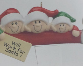Personalized Elf Family of 3 Ornament