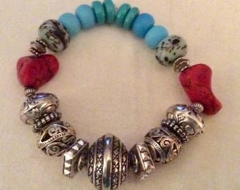 Silver turquoise and red turquoise stretch bracelet. One of a kind