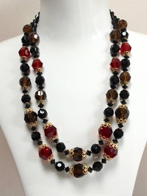 Wonderful vintage 2 strand black and garnet glass necklace