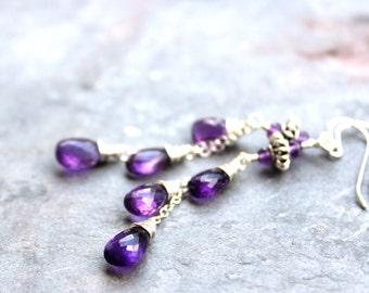 Amethyst Earrings February Birthstone Long Dangling Cascade Purple Teardrops Sterling Silver