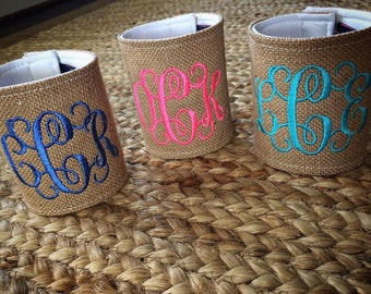 Monogrammed Burlap Can Cooler | Bridesmaid Gift | Bachelorette Party | Girls Trip Gift