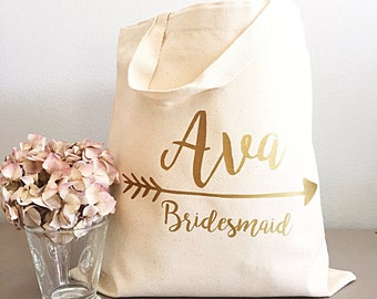 Personalized tote bags for women - Gold- Personalized tote - Name and arrow