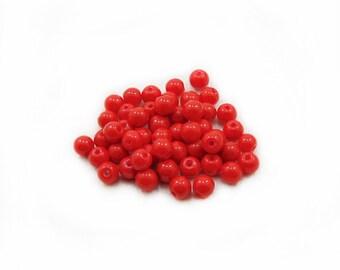 6mm Red Glass Beads, Red Glass Beads, Glass Beads, Red Beads, Jewelry Making, DIY Craft Supplies, 40pcs Red Glass Beads