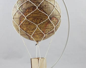 Map hot air balloon baby shower,hot air balloon mobile,hot air balloon nursery,hot air balloon party