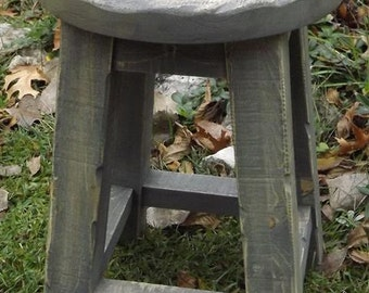 """Rustic, wood stool, farmhouse,  gray, round top,  18""""H"""