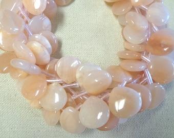 Natural Peach Jade Tear drop strand!!!!