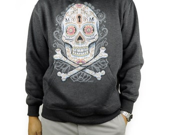Floral Candy Skull Charcoal Pullover Hoodie Day of the Dead Dia De Muertos