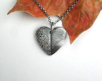 Dog Nose or Paw Print Fingerprint Necklace in Fine Silver for Pet Lovers