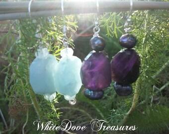Aquamarine Earrings - Amethyst Earrings ~ Black Pearl Earrings - Chakra Jewelry ~ Genuine Gemstone Dangles