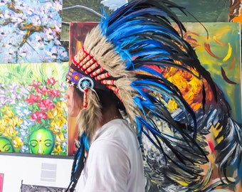 The Original - Real Feather Blue Chief Indian Headdress Replica 75cm, Native American Style Costume Hand Made War Bonnet Hat