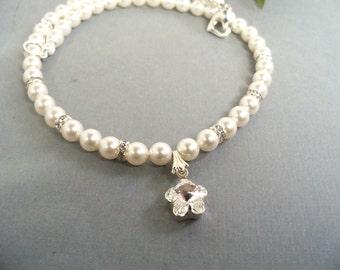 Girls Pearl Necklace, Rhinestone Flower, Flower Girl Jewelry, Toddler Jewelry,Kids Jewelry, Holiday Necklace,