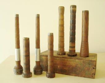 Vintage textile bobbins, 7 brass and steel trimmed wood thread spindles, wood bobbins, set of 7 textile loom spools, primitive decor accents