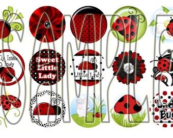 Cute Little Ladybugs Bottle Cap Images 1 inch
