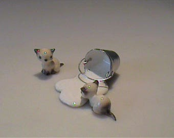 Vintage Hagen Renaker miniature spilled milk and two Siamese kittens