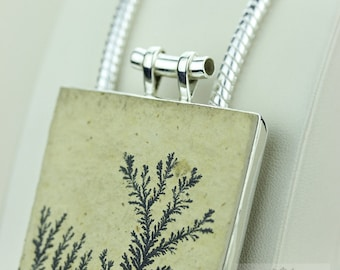 PYROLUSITE FELSITE DENDRITIC Agate 925 Solid Sterling Silver Pendant + 4mm Snake Chain P1405