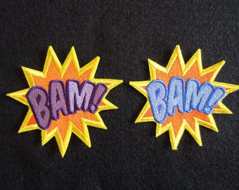 Embroidered Bam Iron On Patch, Super Hero Patch, Bam Patch, Comic Book Patch, Super Hero