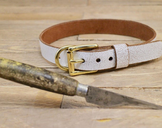 Handmade collar, Leather dog collar, FREE ID TAG, Custom leather collar, ''White desert'' collar, Solid brass hardware, Sturdy collar.