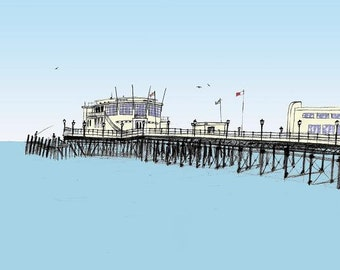 Worthing seaside print - Archival quality limited edition print 'Fishing from the pier'