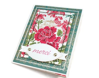 Thank You Card, Merci, French Thank You Card, Floral Thank You Card, Elegant Card,  Wedding Thank You, Gift Thank You, Luxury Handmade Card