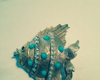 Vintage Gold and Faux Torquoise Fish Brooch