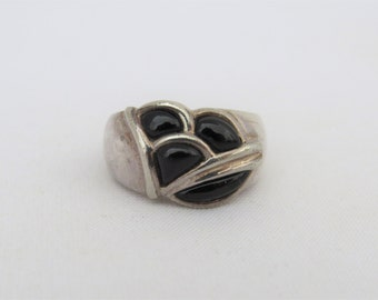 Vintage Sterling Silver Inlay Black Onyx Dome Ring Size 8