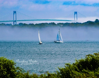 Sailboats by The Claiborne Pell Newport Bridge - Jamestown, RI