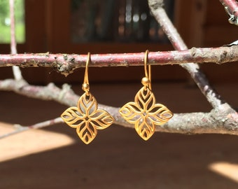 Classic Vermeil Quatrefoil Drop Earrings with French Hooks