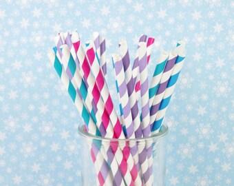 Jewel Tone Paper Straws - Birthday Party Decor - Set of 25 Straws - Aqua, Purple and Pink - First Birthday