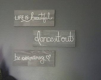 Life is Beautiful Wood Quote