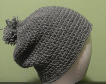 Grey Slouchy Crochet Hat
