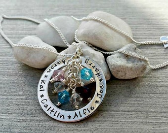 Silver family names necklace, birthstones, mother's necklace, children's names necklace, personalised, hand stamped