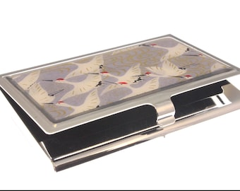 Lilac Cranes Chiyogami.  Business card case. Gift card holder