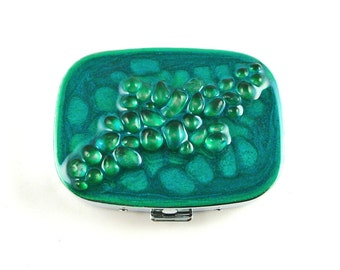 Recycled Glass Pill Box with Mirror Inlaid within Hand Painted Teal Enamel  Available Personalized and Color Options