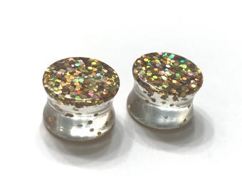 "14mm (9/16"") Gold Glitter Plugs - Double Flared - Stretched Ears"