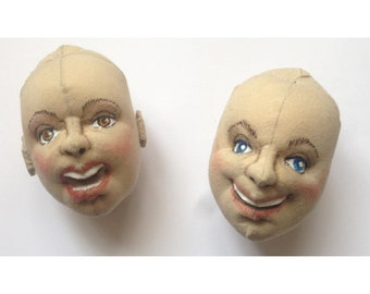 JF103E–  Dollmaking Tutorial - How to make a cloth doll head smiling or singing - Directions in English and Spanish, PDF Download