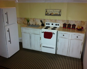 Doll Kitchen Sink / Stove / Refrigerator / Cabinets for Fashion Dolls - Distressed