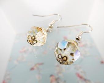 Clear Crystal Drop Earrings, Vintage Earrings, Repurposed Earrings, Wedding Earrings, Bridal Jewelry, Vintage Jewellery
