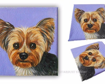"6x6x0.75"" Custom Dog/Pet Portrait, Acrylic on Canvas, 1 Pet Close-Up Solid background Original Painting Memorial Yorkie Yorkshire Terrier"