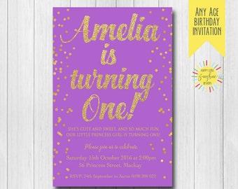 Custom Printable Girl Birthday Invitation Any Age 1st Birthday Purple and Gold Glitter Modern Fun