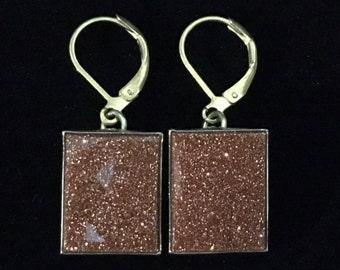 Vintage Handmade Rectangular Goldstone Lever Back  Pierced Earrings (ABX1E)